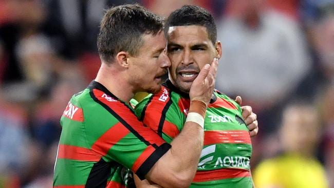 Cody Walker celebrates scoring a try with Damien Cook. Picture: AAP