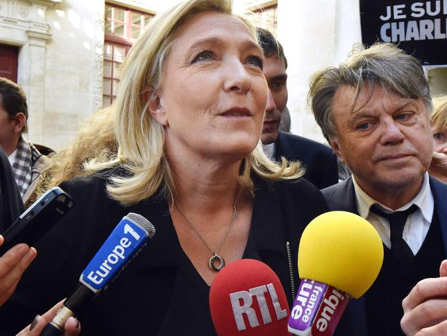Marine Le Pen, speaking in Beaucaire, claimed to be excluded from the main rally in Paris which more than 40 other leaders attended. Picture: AFP PHOTO / PASCAL GUYOT.