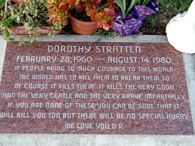 Dorothy Stratten's grave sits in Westwood. Picture: Barry King