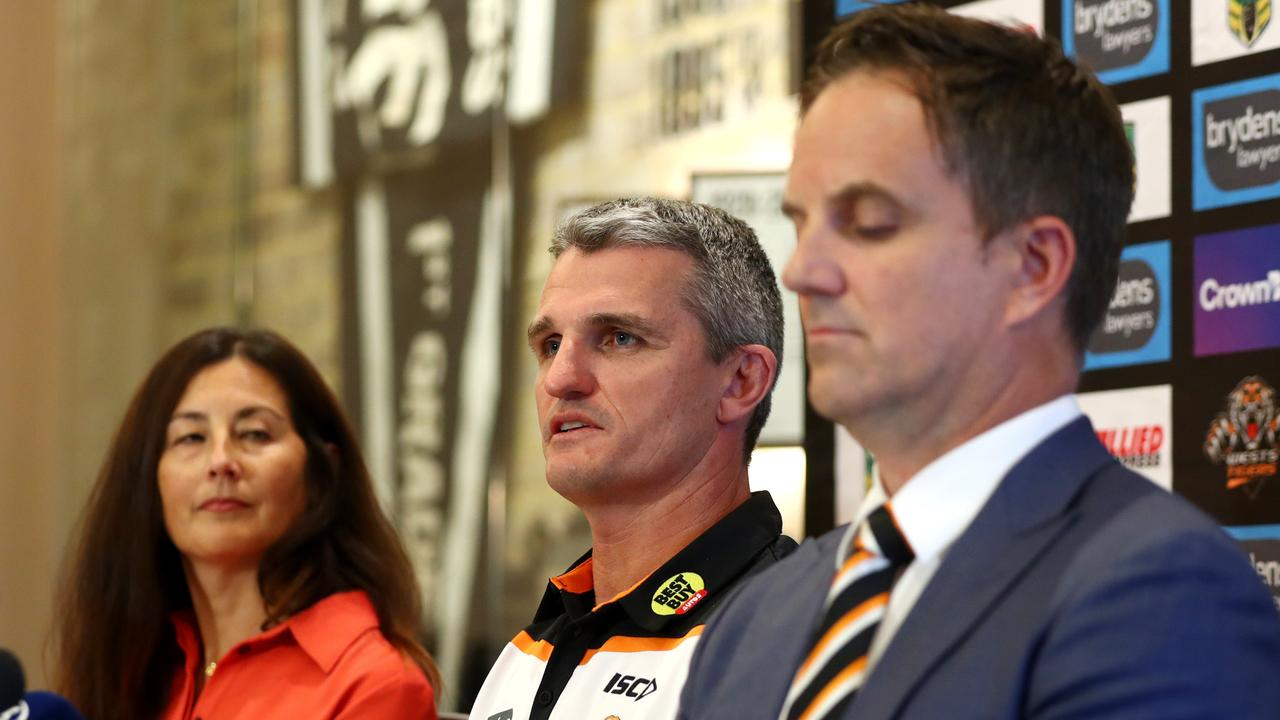 Ivan Cleary press conference with Wests Tigers Chair Marina Go and CEO Justin Pascoe. Picture: Gregg Porteous