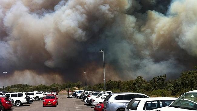 The dramatic scene at Williamtown Airport, Newcastle. Picture: Twitter @WynRichards