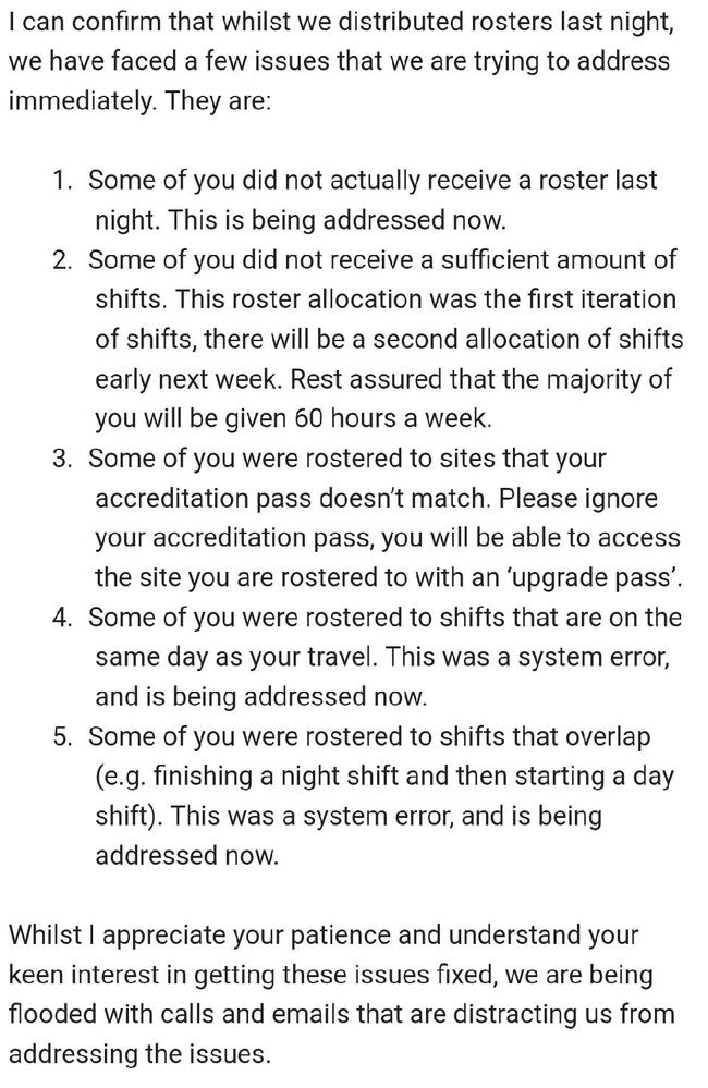 An email explaining the rostering shambles. Picture: Supplied