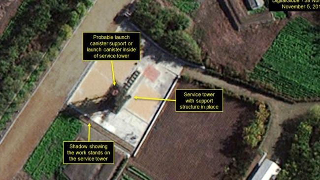 Close-up of the missile test stand indicates launch canister support or launch canister present at service tower. Picture: DigitalGlobe/38 North via Getty Images