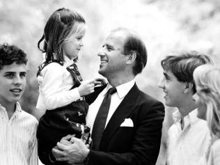 Joe Biden with his sons Hunter and Beau, and daughter Ashley with second wife Jill. Photo: Youtube