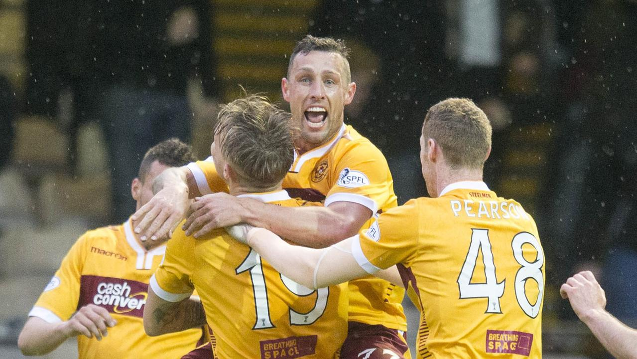 Scott Macdonald celebrates after scoring for Motherwell during the Scottish Premiership play-off final 2nd leg between Motherwell and Rangers