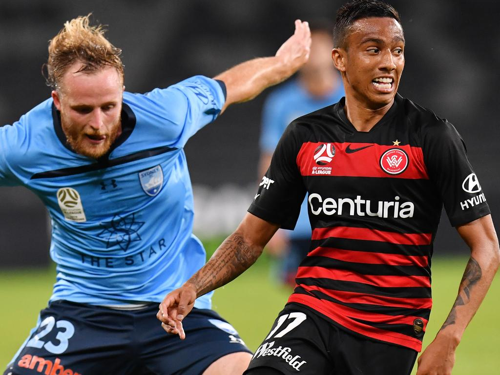 Ryan Grant of Sydney and Keanu Baccus of the Wanderers during the Round 24 A-League match between Western Sydney Wanderers and Sydney FC at Bankwest Stadium, Parramatta in Sydney, Saturday, March 21, 2020. (AAP Image/Dean Lewins) NO ARCHIVING, EDITORIAL USE ONLY