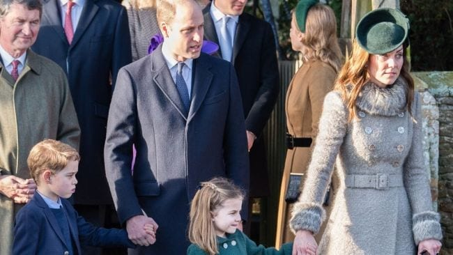 William and Kate with George and Charlotte on Christmas Day 2019. Image: Getty.