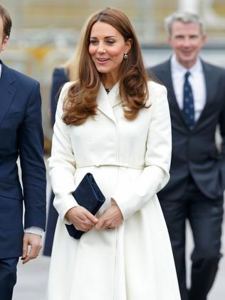 Catherine, Duchess of Cambridge, wore a white coat to visit the headquarters of Ben Ainslie Racing in 2015. Picture: Max Mumby/Indigo/Getty Images