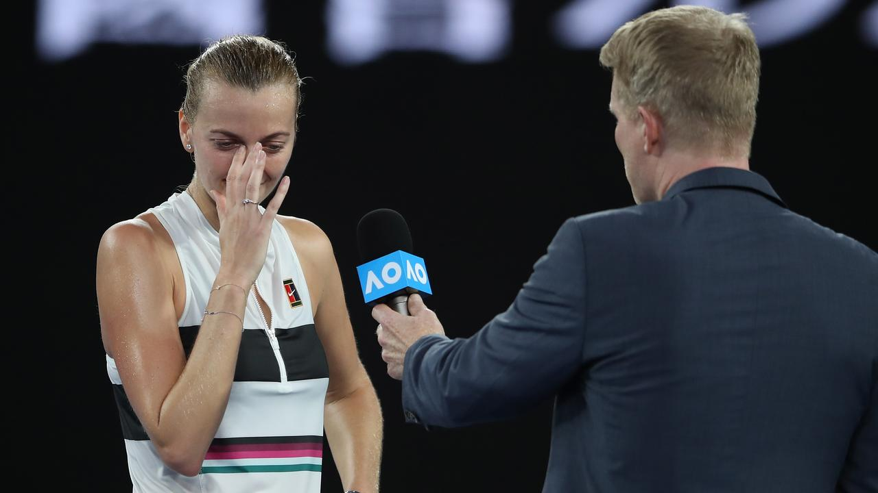 Petra Kvitova was emotional when asked about her comeback from a home invasion stabbing. (Photo by Mark Kolbe/Getty Images)