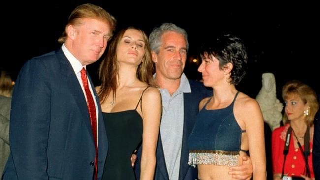 Donald Trump and wife Melania with financier Jeffrey Epstein and British socialite Ghislaine Maxwell at the Mar-a-Lago club, Palm Beach, Florida, February 12, 2000. Picture: Davidoff Studios/Getty Images.