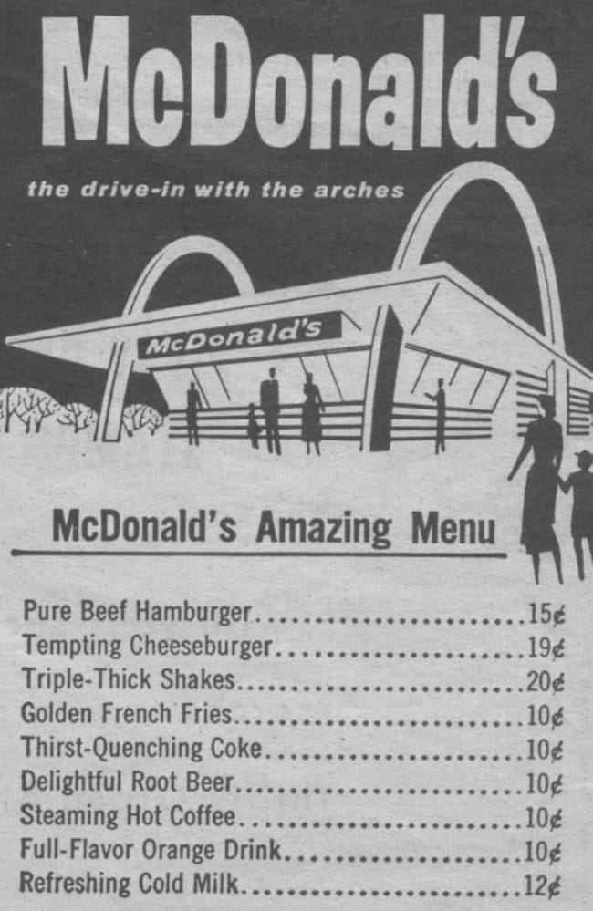 The original McDonald's menu was far less complex than the varied list we have today.