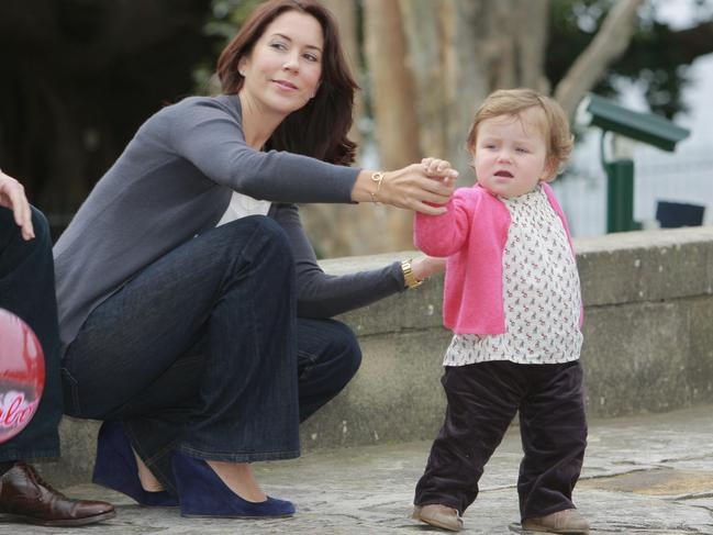 Princess Isabella holds onto her mum during a photo call in Sydney back in 2008.