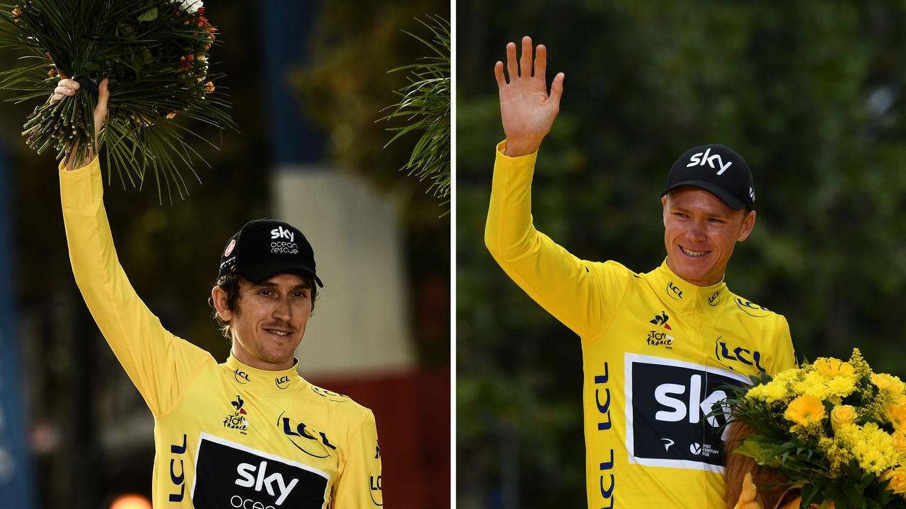Tour de France 2018 winner Geraint Thomas (L) and four-time Tour de France winner Christopher Froome (R, in 2017) have both been dumped for this year's race.