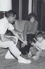Moore is seen here with second husband Grant Tinker and son from her first marriage (to Richard Carleton Meeker) Richard Meeker Jr. Picture: Alamy
