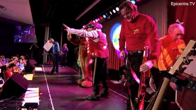 The moment Greg Page collapsed at the Wiggles bushfire concert. Picture: Epicentre. TV
