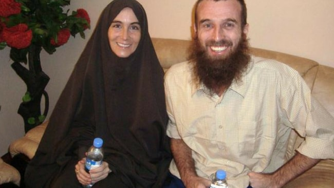 Freed hostages Lindhout and Brennan, seated together at a hotel in Mogadishu, Somalia,Source:AP