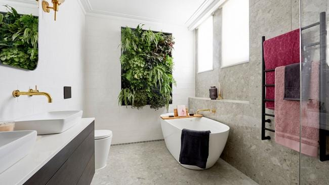 The couple's bathroom left the judges a bit overwhelmed, particularly criticised their vertical garden. Source: The Block