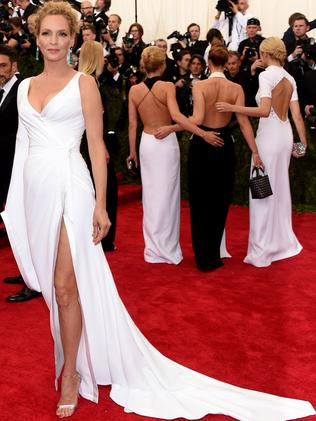 Thigh-high ... Uma Thurman. Picture: Getty Images