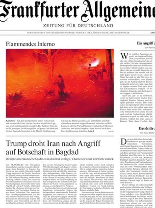 Front page of a newspaper in Frankfurt. Picture: Supplied