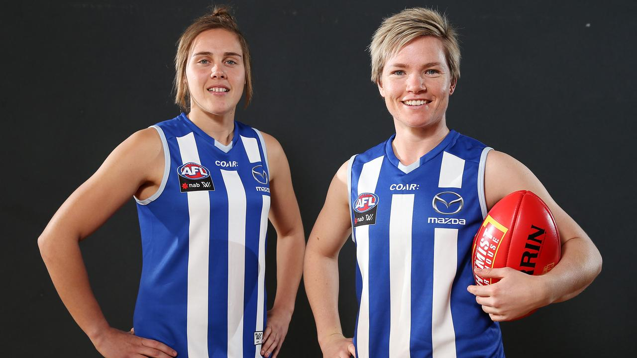 Jasmine Garner and Jess Duffin have signed for North Melbourne this season. Photo: Michael Klein.