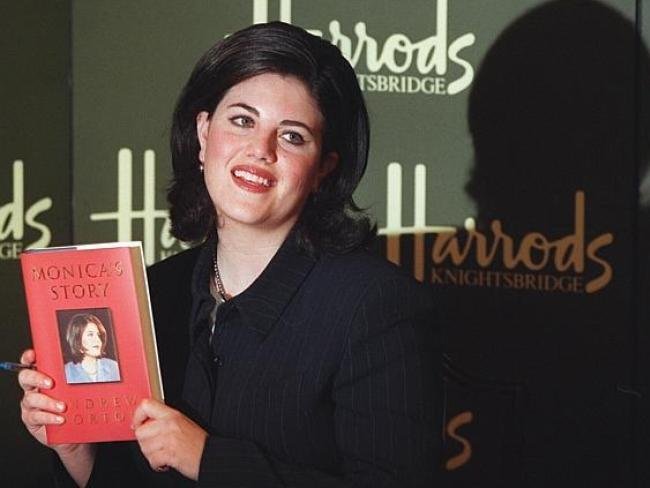 Monica Lewinsky during her book signing in Harrods department store in London, 1999. Photo: Supplied