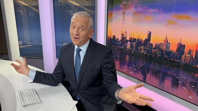 Veteran ABC broadcaster Ian Henderson sees the light side of his now second last broadcast. Picture: Twitter/@PaulHiggins