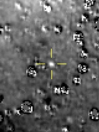 Image showing Ultima Thule by the crosshairs at centre, with stars surrounding it. Picture: NASA
