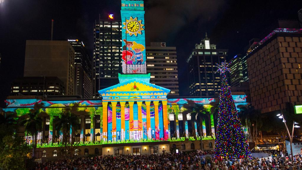 Christmas in brisbane has parades lights the courier mail brisbane city hall christmas light show spiritdancerdesigns Images