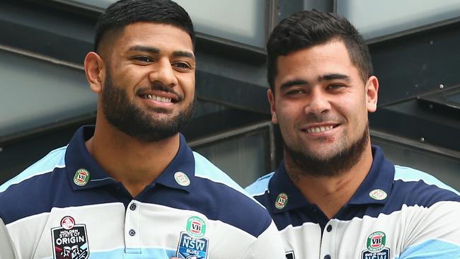 Daniel Tupou and Andrew Fifita share a joke as they pose for a group photo during Blues Team Announcement.