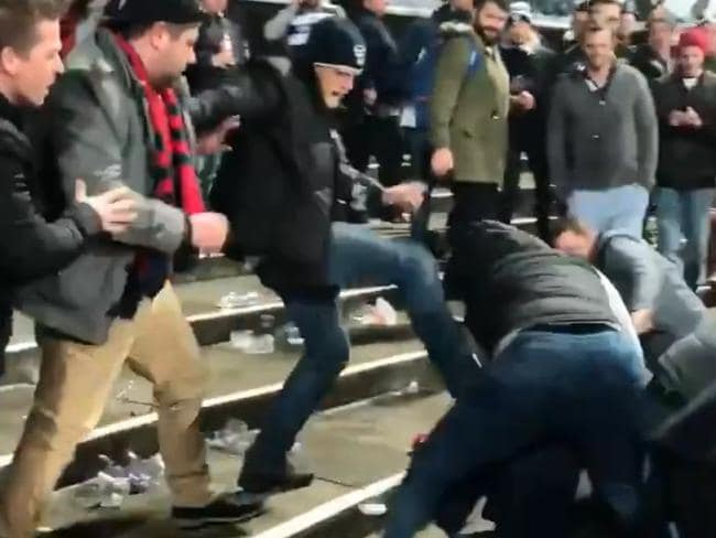 A fight occurred at GMHBA Stadium after Geelong's win over Melbourne