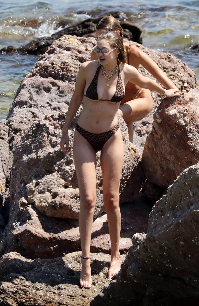 She's been seen wearing an array of small swimmers on her trip. Picture: Backgrid