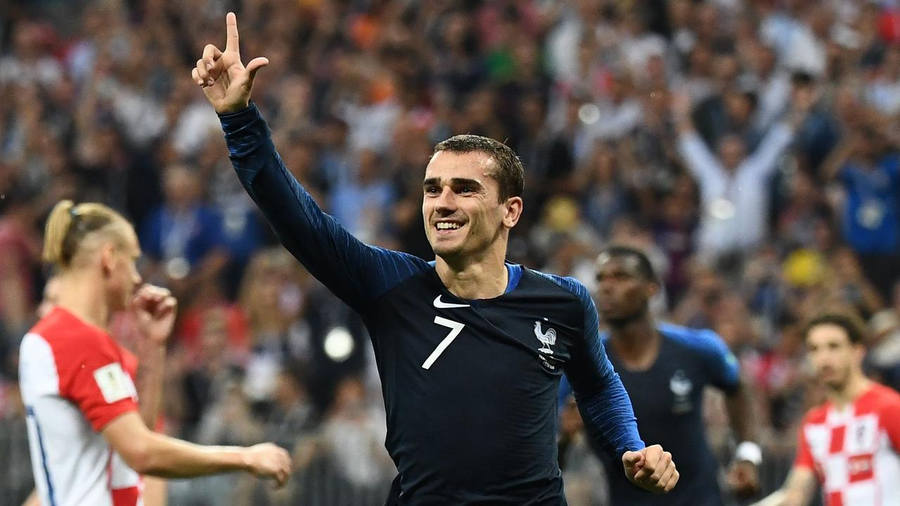 Antoine Griezmann celebrates scoring a penalty in France's Russia 2018 World Cup final win over Croatia.