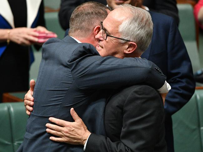 PM Malcolm Turnbull and Liberal MP Tim Wilson celebrate the passing of the same-sex marriage bill. Picture: AAP Image/Mick Tsikas