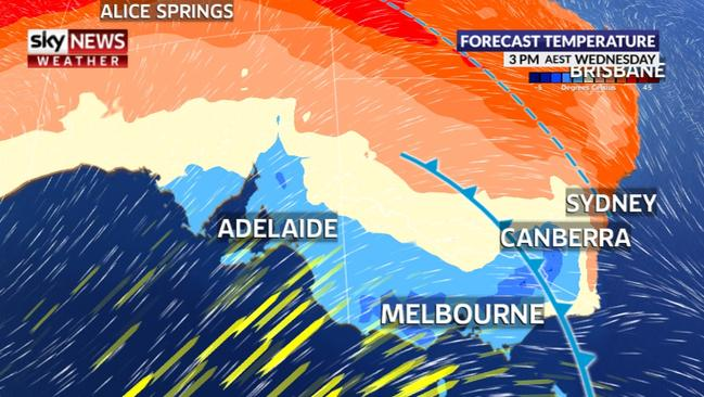 On Wednesday, Brisbane and Sydney will have January-like days while Melbourne, Canberra and Adelaide will be significantly cooler. Picture: Sky News