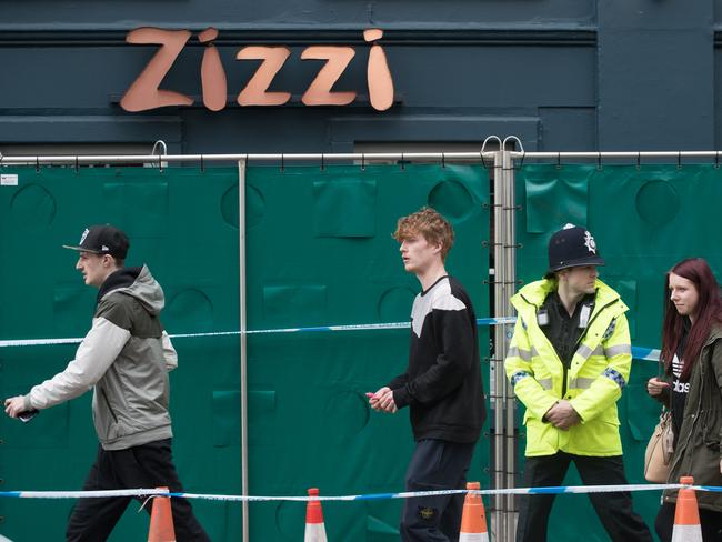 Police officers continue to stand guard outside the Zizzi restaurant in Salisbury, as police and members of the armed forces continue to investigate the suspected nerve agent attack. Picture: Getty