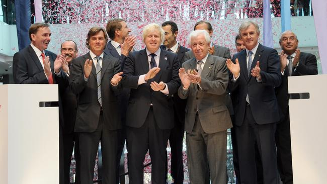 Then mayor of London, now Prime Minister Boris Johnson (centre) and Frank Lowy (centre right) cut the ribbon at the opening of Westfield Stratford, London's second Westfield, in September 2011.