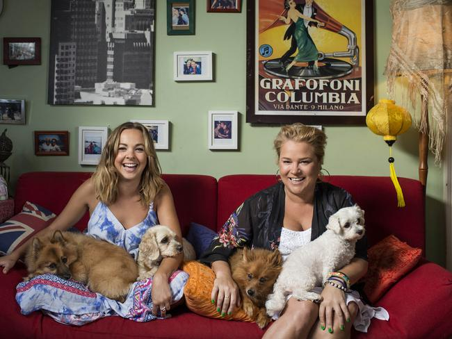 Angie and Yvie and their pooches. Picture: Foxtel/Ten/Nick Wilson