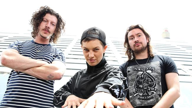 Australian chart-topping dance music duo Peking Duk with Swedish singer and rapper Elliphant in Sydney. Picture: Supplied