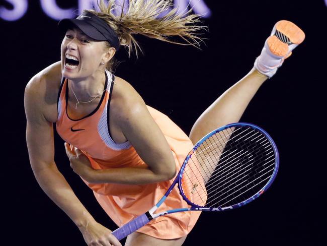 Maria Sharapova at the Australian Open, scene of her failed drug test.