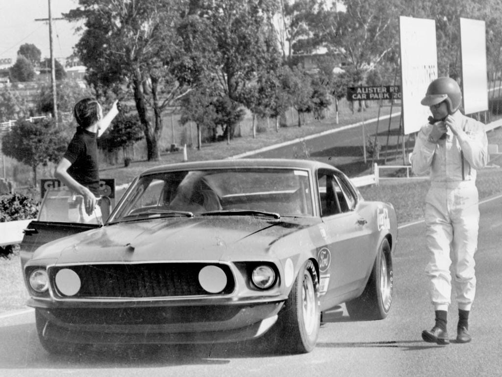 Moffat with the car at its first shakedown on Australian soil at Sandown in 1969.