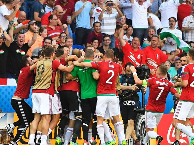 Hungary's players celebrate after scoring a goal.