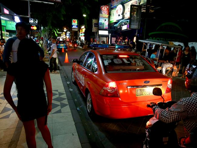 Police set up outside the most popular clubs in Kuta, Bali.