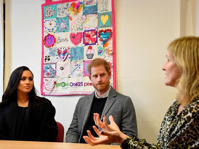 Meghan and Harry, Duke of Sussex met with CEO Anna Smith during a visit to charity One25. Picture: AFP