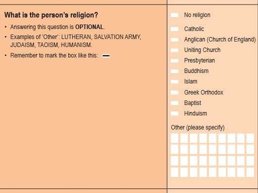 The religion question on the 2016 Census. Picture: ABS Census of Population and Housing, 2016