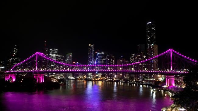 The Story Bridge is seen lit up in pink in memory of Hannah Clarke and her children. Picture: Getty Images