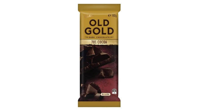 Cadbury Old Gold 70 per cent Cocoa, $3, at Woolworths, Image: Supplied
