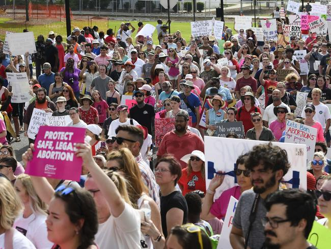 Protesters participate in a rally against one of the US's most restrictive bans on abortions in Montgomery, Alabama. Picture: Julie Bennett/Getty Images/AFP
