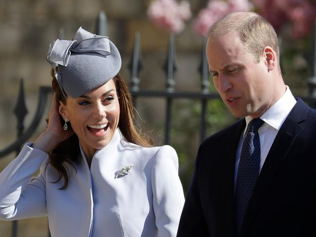 Kate is all smiles as she enters the church. Picture: AFP