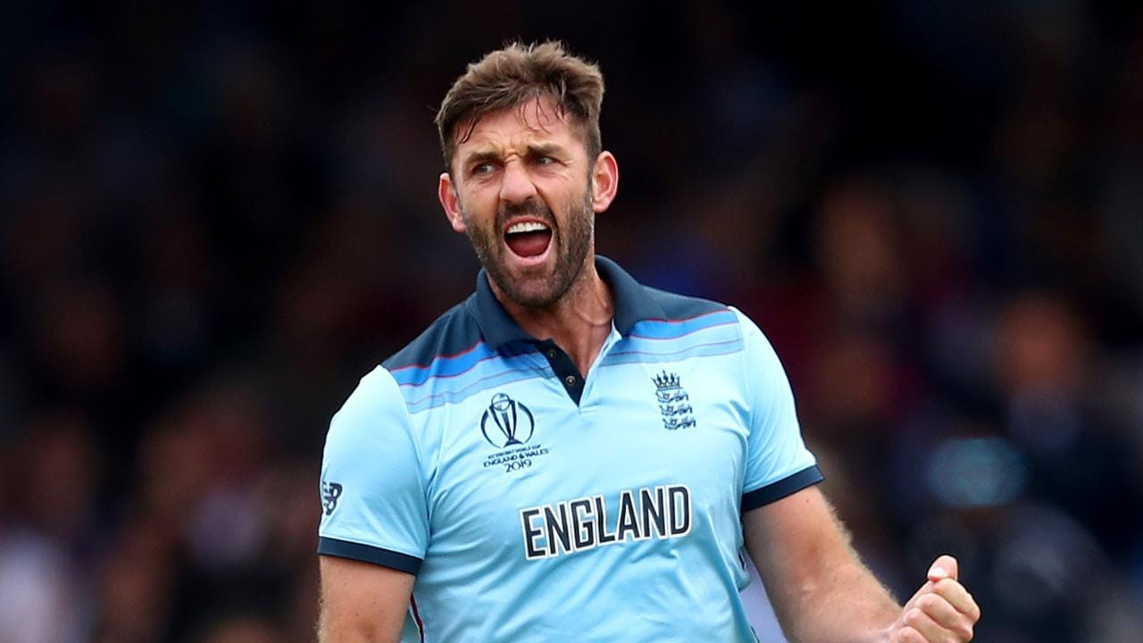 Liam Plunkett of England celebrates dismissing Kane Williamson of New Zealand during the Final of the ICC Cricket World Cup 2019.