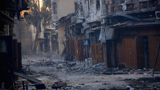 A general view taken on January 3, 2013, shows destruction in the old souk of the northern Syrian city of Aleppo. Picture: AFP Photo